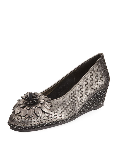 Sesto Meucci Mae Floral Wedge Espadrille, Pewter