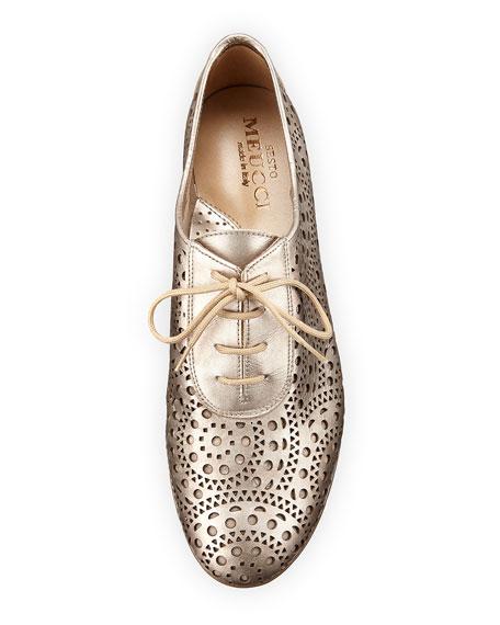 Betka Laser-Cut Oxford Sneaker, Gold