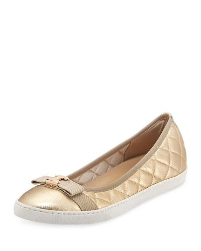 Fanya Metallic Quilted Ballerina Sneaker, Gold