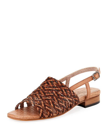 Sesto Meucci Goldie Woven Flat Sandal, Neutral Multi