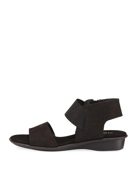 Elki Demi-Wedge Flat Sandal, Black