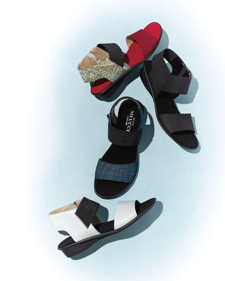 Elki Demi-Wedge Flat Sandals, Black