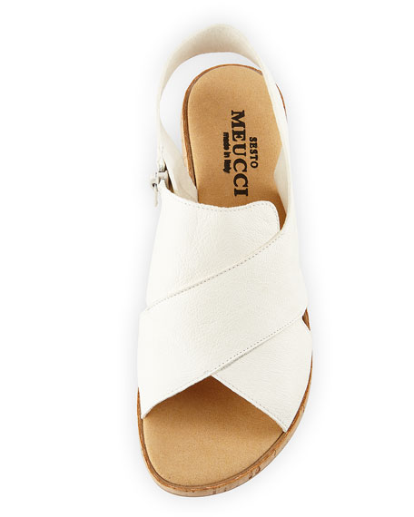 Sabita Demi-Wedge Flat Sandals, White