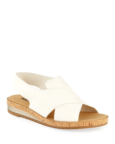 Sesto Meucci Sabita Demi-Wedge Flat Sandal, White