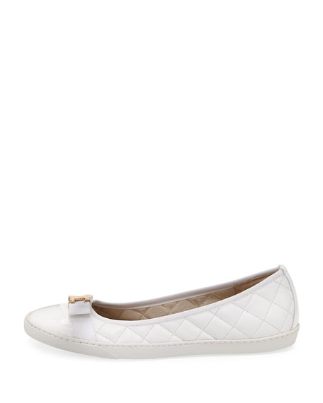 Fanya Quilted Ballerina Sneakers, White