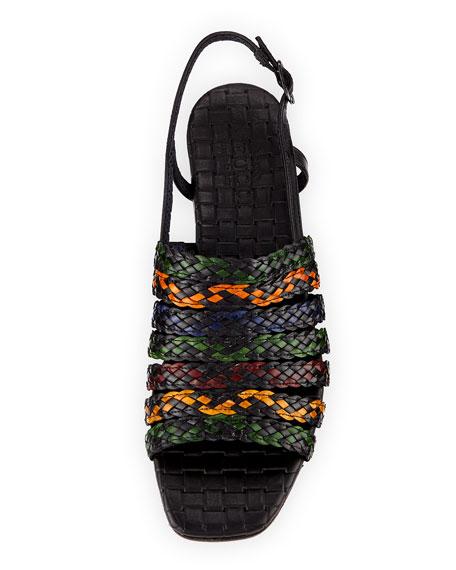 Goldie Woven Flat Sandal, Black Multi