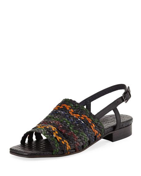 Sesto Meucci Goldie Woven Flat Sandal, Black Multi