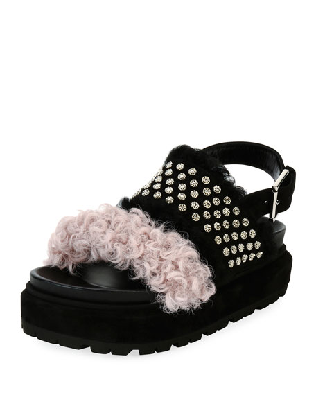 Two-Band Shearling Fur Sandal, Black/Pink