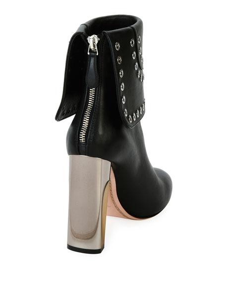 Grommet-Studded Leather Bootie, Black