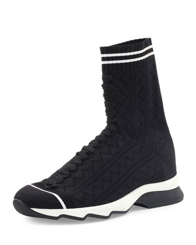 Zigzag-Knit Sock Sneaker, Black/White