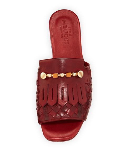 Gillis Woven Kiltie Flat Slide Sandal, Ruby Red