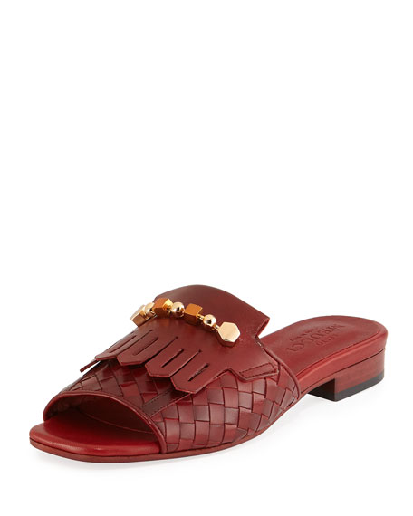 Gillis Woven Kiltie Flat Slide Sandal, Ruby Red