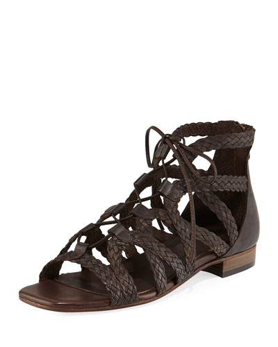 Gidget Woven Flat Gladiator Sandal, Brown
