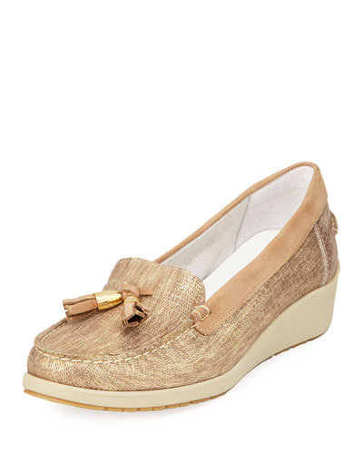 Laela Wedge Slip-On Loafer Pump, Bronze