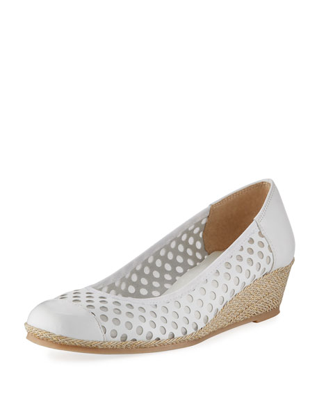 Sesto Meucci Mabyn Leather Wedge Slip-On Espadrille, White
