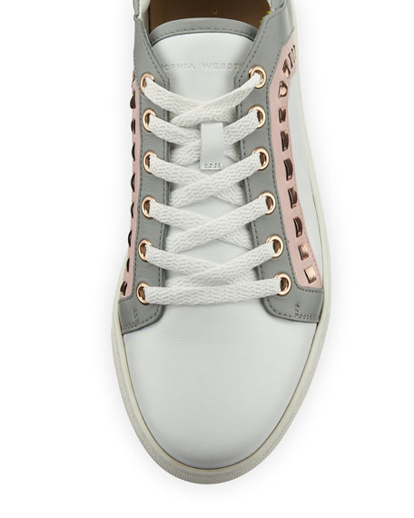 Riko Leather Low-Top Sneaker, White