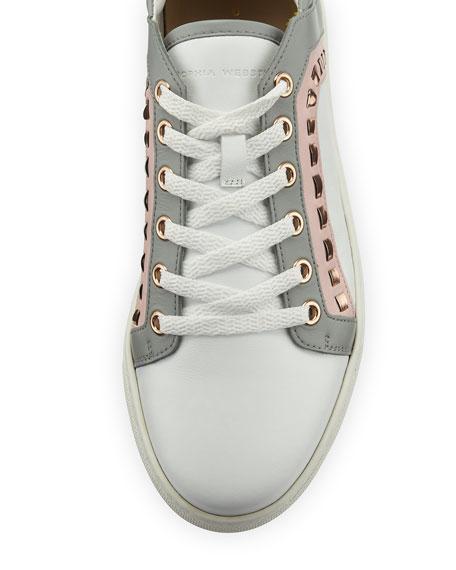 Riko Leather Low-Top Sneaker, White