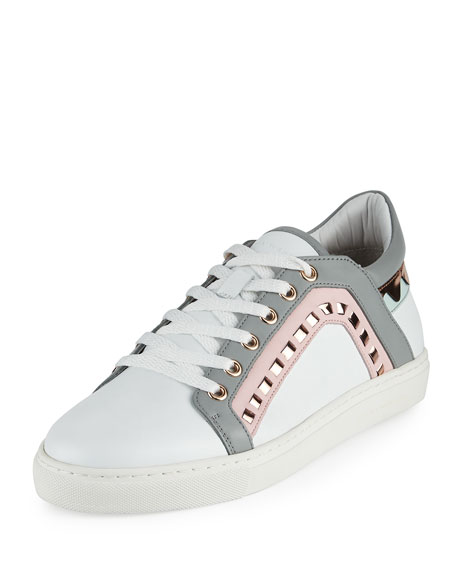 Sophia Webster Riko Leather Low-Top Sneaker, White