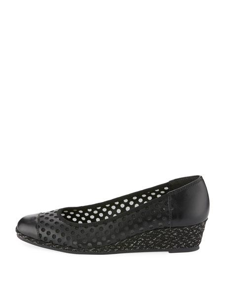 Mabyn Leather Wedge Slip-On Espadrille, Black