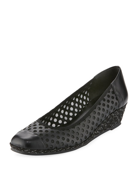 Sesto Meucci Mabyn Leather Wedge Slip-On Espadrille, Black