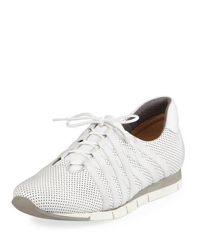Calais Perforated Napa Leather Sneaker, White