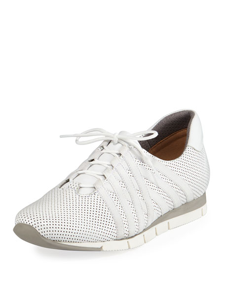 Sesto Meucci Calais Perforated Napa Leather Sneaker, White