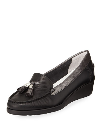 Laela Wedge Slip-On Loafer Pump, Black Metallic