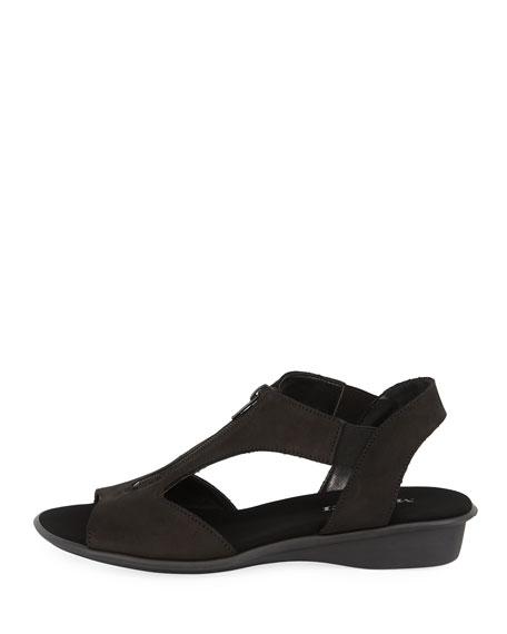 Eliso Zip Flat Comfort Sandals, Black
