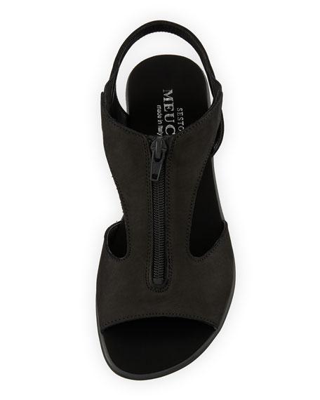 Eliso Zip Flat Comfort Sandal, Black
