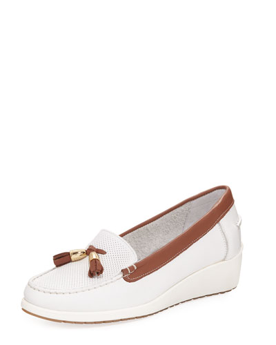 Laela Wedge Slip-On Loafer Pump, White/Brown