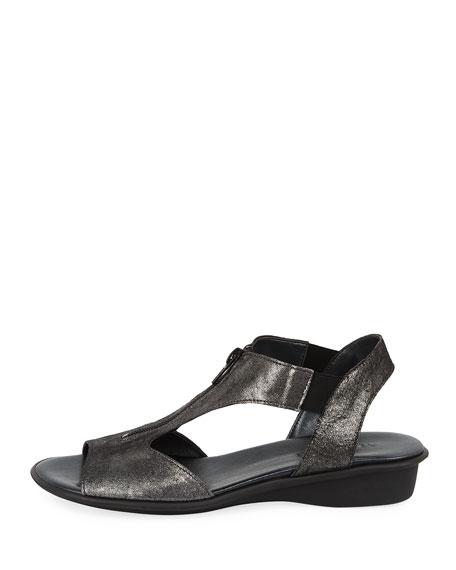 Eliso Zip Flat Comfort Sandal, Black Metallic