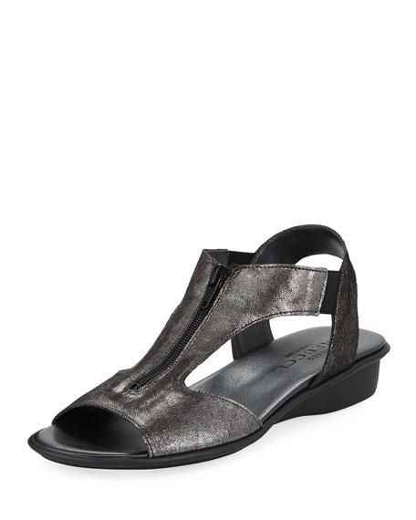 Sesto Meucci Eliso Zip Flat Comfort Sandal, Black