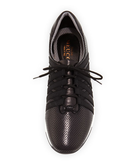 Calais Perforated Napa Leather Sneaker, Black