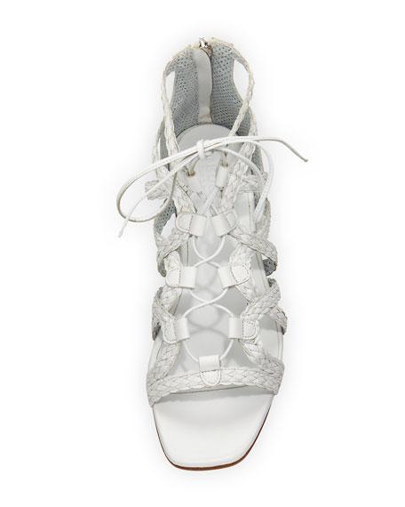 Gidget Woven Flat Gladiator Sandal, White