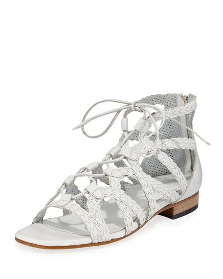 Sesto Meucci Gidget Woven Flat Gladiator Sandal, White