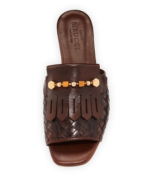Gillis Woven Kiltie Flat Slide Sandals, Dark Tan