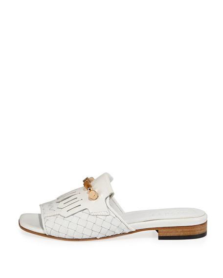 Gillis Woven Kiltie Flat Slide Sandal, White