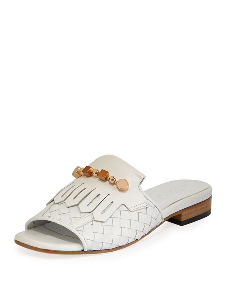 Gillis Woven Kiltie Flat Slide Sandals, White
