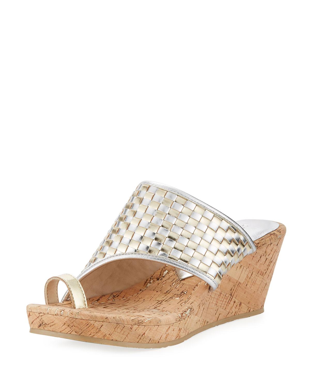 Gyer Metallic Woven Wedge Sandal, Neutral