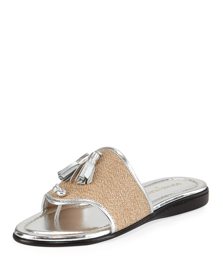 Bia Tassel Flat Sandal, Natural/Silver