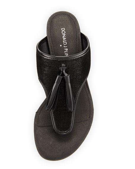 Tira Tassel Thong Slide Sandal, Black