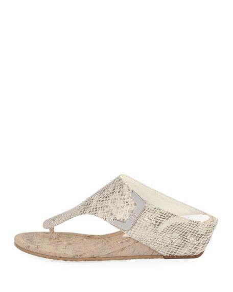 Dart Snake-Embossed Sandal, Light Gray