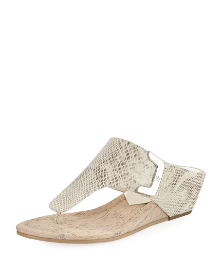 Donald J Pliner Dart Snake-Embossed Sandal, Light Gray