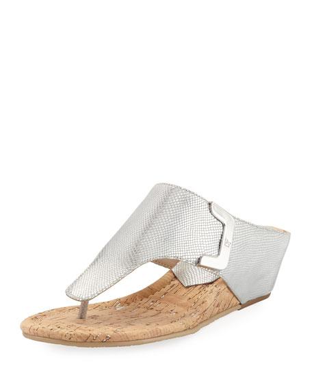 Donald J Pliner Dart Lizard-Embossed Sandal, Silver