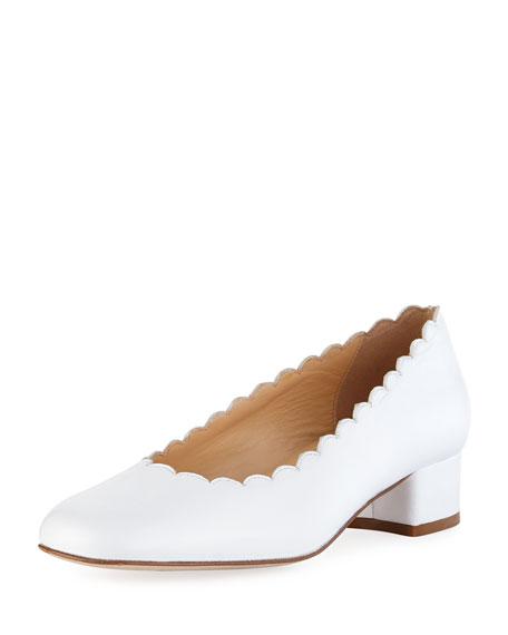 Sesto Meucci Hali Scalloped Leather Pump, White