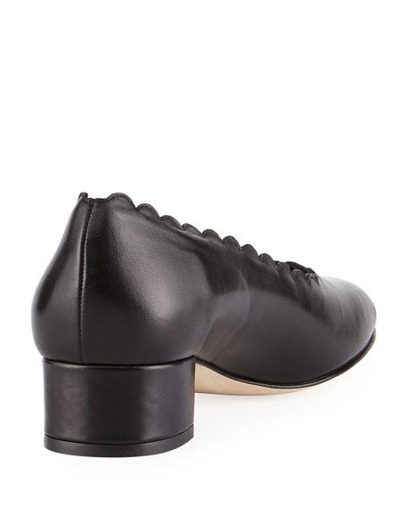 Hali Scalloped Leather Pump, Black