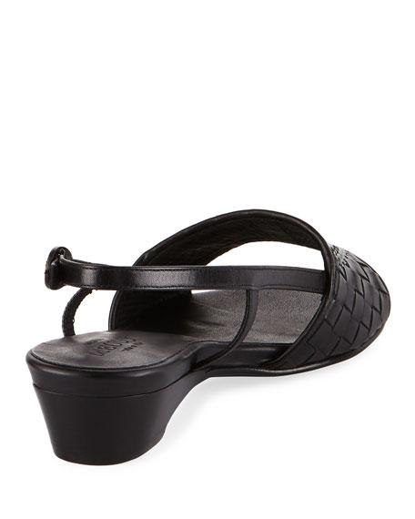 Ginger Woven Leather Slingback Sandal, Black