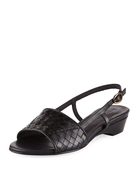 Sesto Meucci Ginger Woven Leather Slingback Sandal, Black