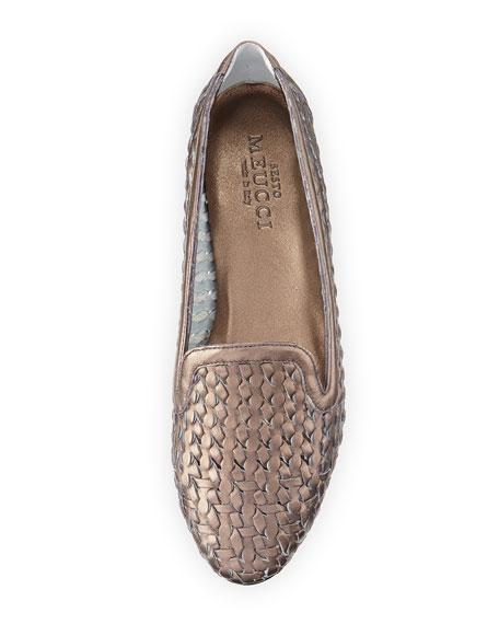 Neya Woven Metallic Loafer, Pewter