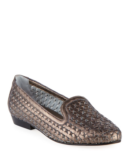 Neya Woven Metallic Loafer, Pewter